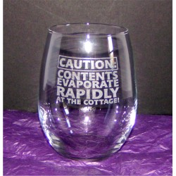 "Stemless Wine Glass - ""Caution"""