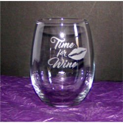 "Stemless Wine Glass - ""Time for Wine"""