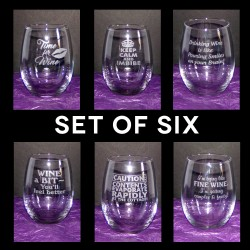Wine Lover's Set - Stemless Wine Glasses (set of 6)